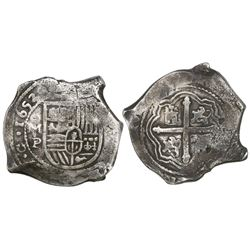 Mexico City, Mexico, cob 8 reales, 1653P, with chopmarks as from circulation in the Orient.