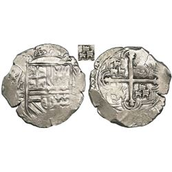 Mexico City, Mexico, cob 2 reales, Philip II, assayer F, three small castles in each quadrant (also