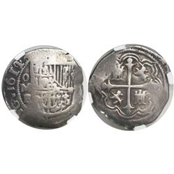 Mexico City, Mexico, cob 1 real, 1611/0F, rare, encapsulated NGC Fine details / surface hairlines.