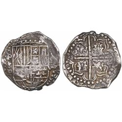 Potosi, Bolivia, cob 8 reales, Philip IV, assayer P (1622), upper half of shield and quadrants of cr