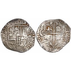 Potosi, Bolivia, cob 8 reales, 1626T, date at 3-4 o'clock, quadrants of cross transposed, very rare,