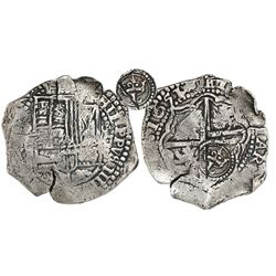 Potosi, Bolivia, cob 8 reales, 1651O, Latin 5, crowned-L countermark on cross, from the Capitana (16
