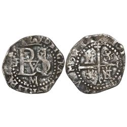 Potosi, Bolivia, cob 1/2 real, Philip II, assayer M (large) below monogram, mintmark P to left, rare
