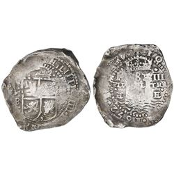Potosi, Bolivia, cob 8 reales, 1652E transitional Type V (very rare variety), Plate Coin in CT.