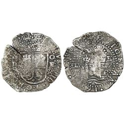 Potosi, Bolivia, cob 8 reales, 1652E transitional Type VII (very rare variety), from the Capitana (1