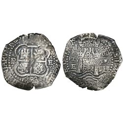 Potosi, Bolivia, cob 8 reales, 1652E post-transitional (transitional Type VIII/B), 1-PH-6 at top, Ro