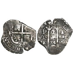 Potosi, Bolivia, cob 2 reales, 1674E, with 7/6 below cross (unique).
