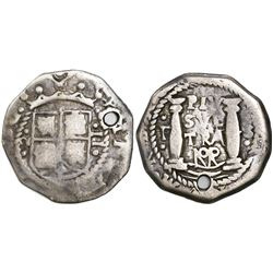 Bogota, Colombia, cob 2 reales, (172)4, assayer S to right, mintmark F to left of pillars, NoR above