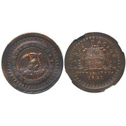 Buenos Aires, Argentina (National Bank), copper 10 decimos, 1827, encapsulated NGC MS 61 BN.
