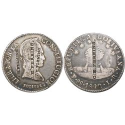 "Potosi, Bolivia, 8 soles, 1842LR, with U.S. merchant countermarks ""C.E. Perkins"" and ""J.W. Fleming."""