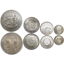 Brazil, complete set of 4 silver coins (4000, 2000, 1000 and 400 reis), 1900, 400th Anniversary of t