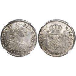 Bogota, Colombia, bust 2 reales, Ferdinand VII (bust of Charles IV), 1817FJ, no dot before HISPAN, e
