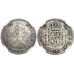 Bogota, Colombia, bust 1 real, Charles III, 1777JJ, variety with J•J and N•R, encapsulated NGC VG 8,