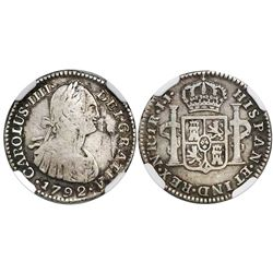 Bogota, Colombia, bust 1 real, Charles IV, 1792JJ, encapsulated NGC VG 8, rare, ex-Ortiz Murias.