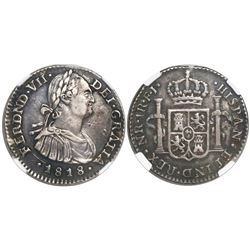 Bogota, Colombia, bust 1 real, Ferdinand VII (bust of Charles IV), 1818FJ, encapsulated NGC XF 40, f