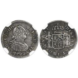 Bogota, Colombia, bust 1/2 real, Charles IV, 1792JJ, rare, encapsulated NGC VF details, environmenta