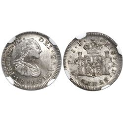 Popayan, Colombia, bust 1/2 real, Ferdinand VII (bust of Charles IV), 1810JF, encapsulated NGC MS 61