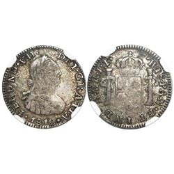 Bogota, Colombia, bust 1/2 real, Ferdinand VII (bust of Charles IV), 1812JF (no overdate but re-cut