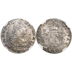 Bogota, Colombia, bust 1/2 real, Ferdinand VII (bust of Charles IV), 1818FJ, encapsulated NGC AU 55,