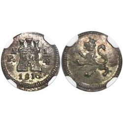 Popayan, Colombia, 1/4 real, 1816, mintmark PN, encapsulated NGC MS 63.