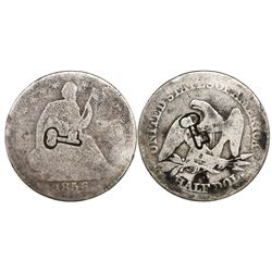 Cuba, 50 centavos, double short-and-thick key countermarks (1872-77) on a USA (San Francisco mint) s