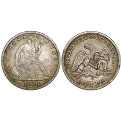 Cuba, 50 centavos, double short-and-thick key countermarks (1872-77) on a USA (New Orleans) seated L