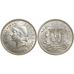 Dominican Republic (struck in Philadelphia), 1 peso, 1939.