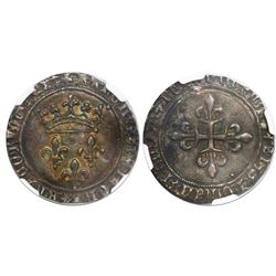 France (Montpelier mint), gros de roi, Charles VII, no date (1422-61), encapsulated NGC AU 58.