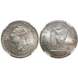 France (Paris mint), 30 sols, Louis XVI, 1791-A, encapsulated NGC MS 63, finest known in NGC census.