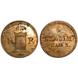 France, bronze 5 centimes, AN 3 (1794/1795).