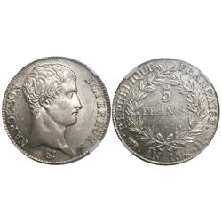 France (Toulouse mint), 5 francs, Napoleon I, An-13 (1804), encapsulated NGC AU 58, tied for finest