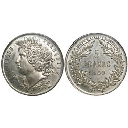 France, white-metal proof essai 5 francs, 1849, Malbet pattern coinage, encapsulated ANACS PF 64.