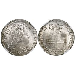 Lorraine, France (under German States), teston, Leopold I, 1713, encapsulated NGC MS 64, finest know