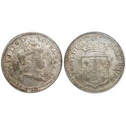 Lorraine, France (under German States), teston, Leopold I, 1716, encapsulated NGC MS 62.