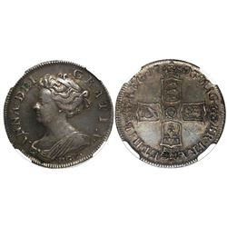 Great Britain (London, England), shilling, Anne, 1703, with VIGO below bust, encapsulated NGC XF-45.
