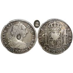 Great Britain (London, England), 1 dollar, oval George III countermark (1797-99) on a Potosi, Bolivi