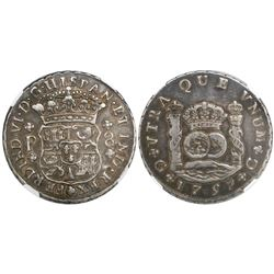 Guatemala, pillar 8 reales, Ferdinand VI, 1759P, encapsulated NGC VF 25.