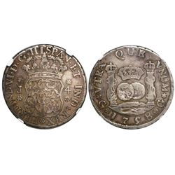 Guatemala, pillar 4 reales, Ferdinand VI, 1758J, encapsulated NGC VF 20, tied for finest known in NG
