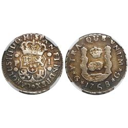 Guatemala, pillar 1 real, Charles III, 1768P, encapsulated NGC F details / surface hairlines, probab