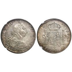 Guatemala, bust 8 reales, Charles III, 1773P, encapsulated NGC AU 50, finest known in NGC census.
