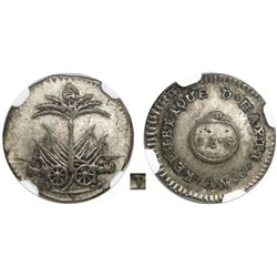 Haiti, 12 centimes, AN 10 (1813), small P below cannons, very rare, encapsulated NGC XF 45, finest a