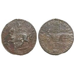 "Ireland, brass ""gun money"" crown, James II, 1690."