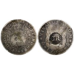 "Jamaica (British administration), 3 shillings 4 pence, ""GR"" double countermark (1758) on a Mexico Ci"