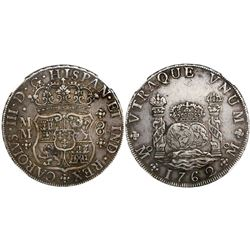 Mexico City, Mexico, pillar 8 reales, Charles III, 1762MM, tip of cross between H and I, encapsulate