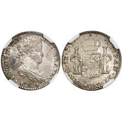 Mexico City, Mexico, real, Ferdinand VII, bust 1 real, 1821JJ, encapsulated NGC MS 63.