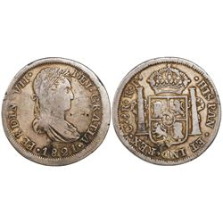 Chihuahua, Mexico, bust 8 reales, Ferdinand VII, 1821RP, struck with Durango portrait dies, struck o