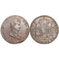 Guadalajara, Mexico, bust 8 reales, Ferdinand VII, 1821FS, one fleur over two fleurs in center of sh