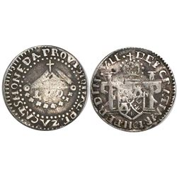 Zacatecas, Mexico, provisional 1 real, Ferdinand VII, 1811-L.V.O., flowers and castles in shield.
