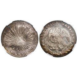 Mexico City, Mexico, cap-and-rays 2 reales, 1863TH, encapsulated NGC MS 66, tied with one other for