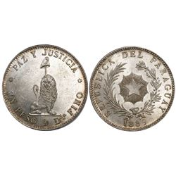 Paraguay (struck in Buenos Aires), 1 peso, 1889.